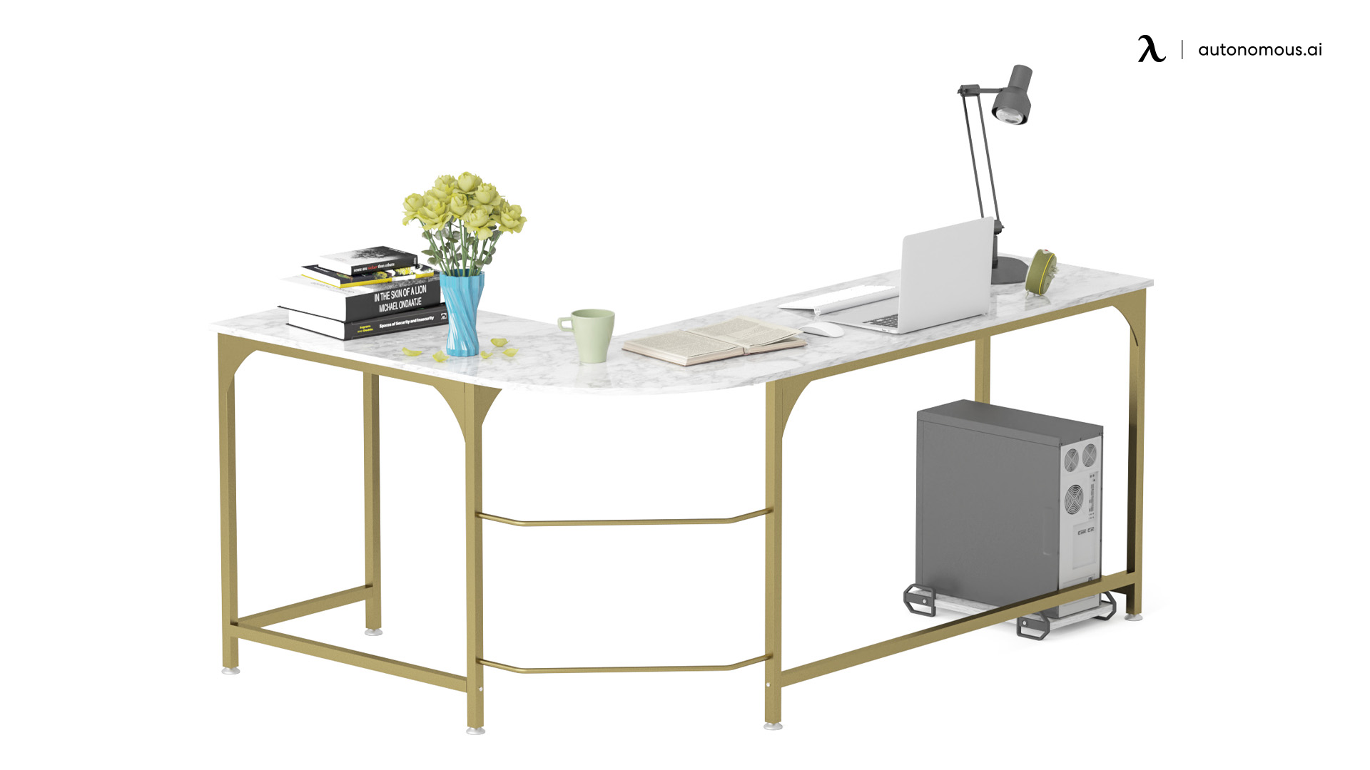 Goldwing L-shaped White Gaming Table