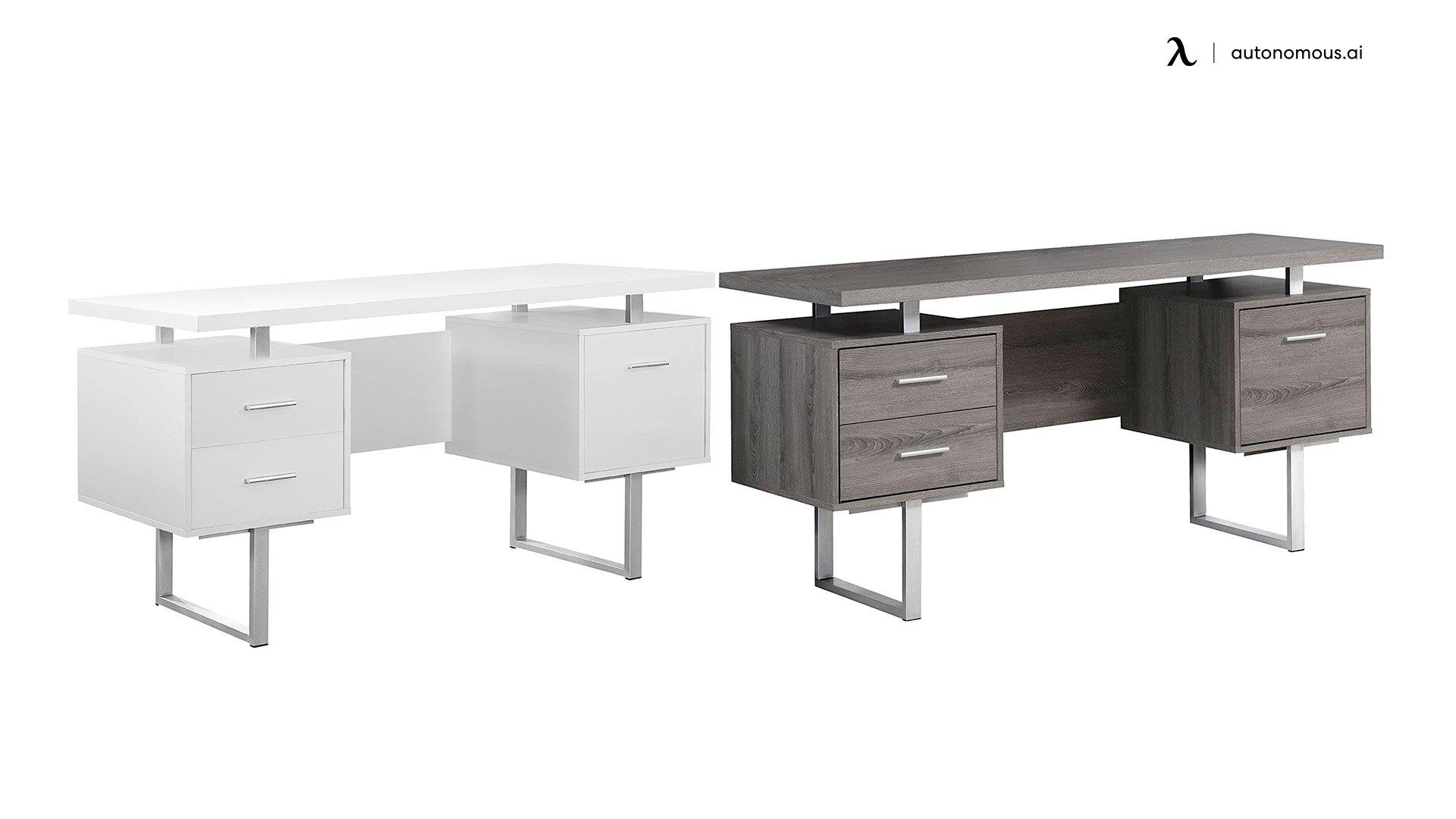 Monarch Specialties Silver Metal Office Desk