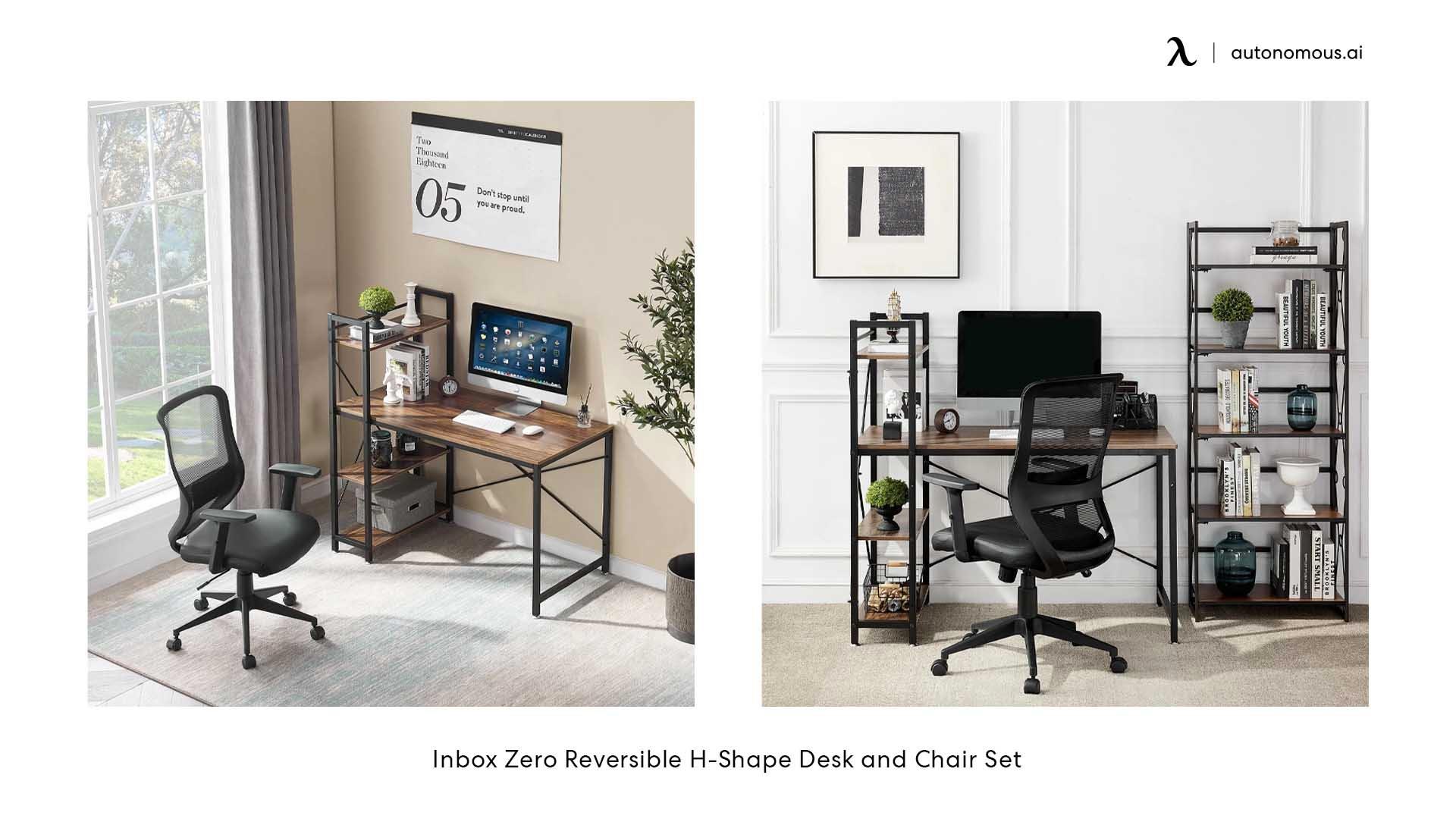 Inbox Zero Reversible H-Shape Desk and Chair Set