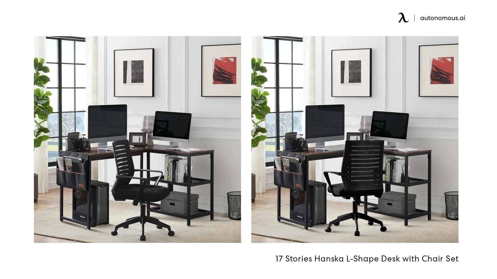 17 Stories Hanska L-Shape Desk with Chair Set
