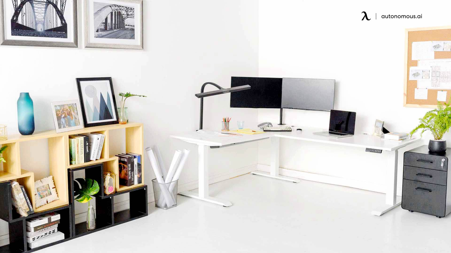 Create a Home Office Peninsula with Your Desks