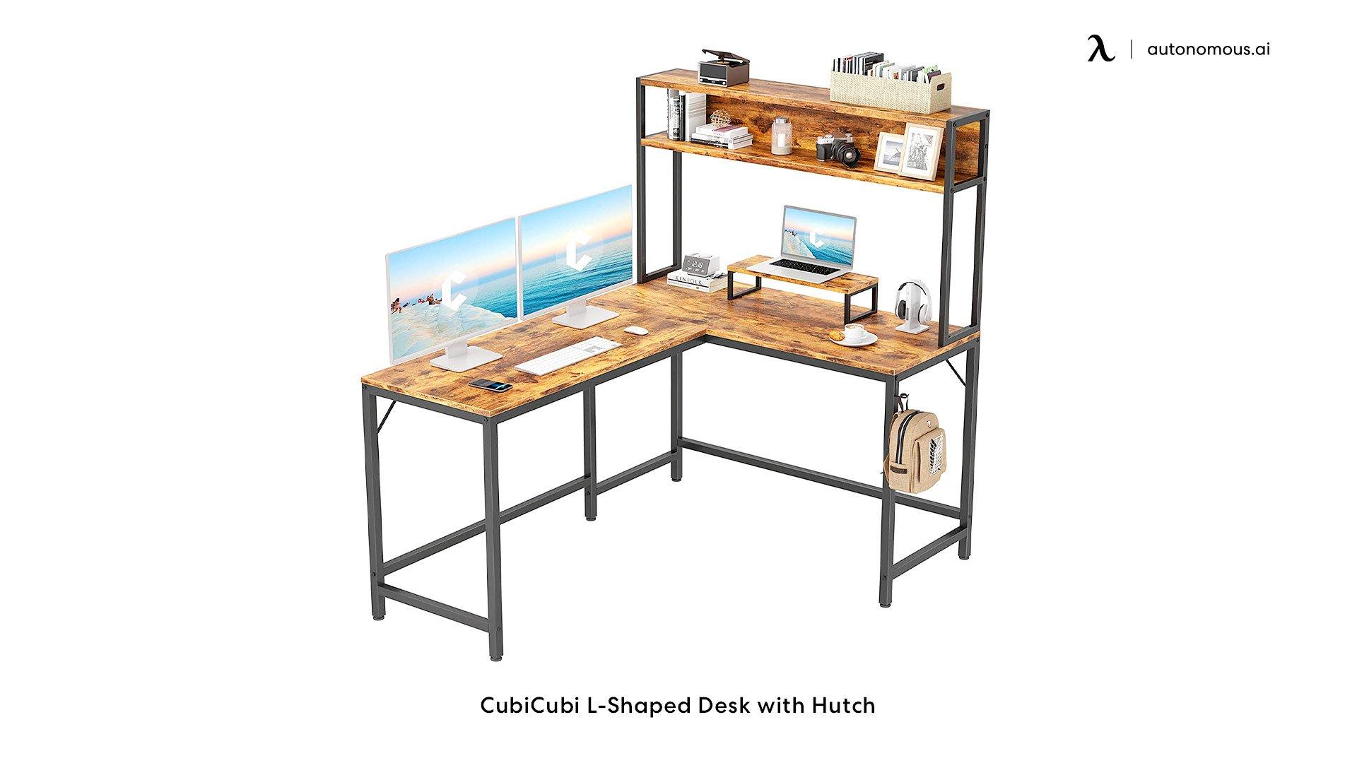 CubiCubi L-Shaped Desk with Hutch