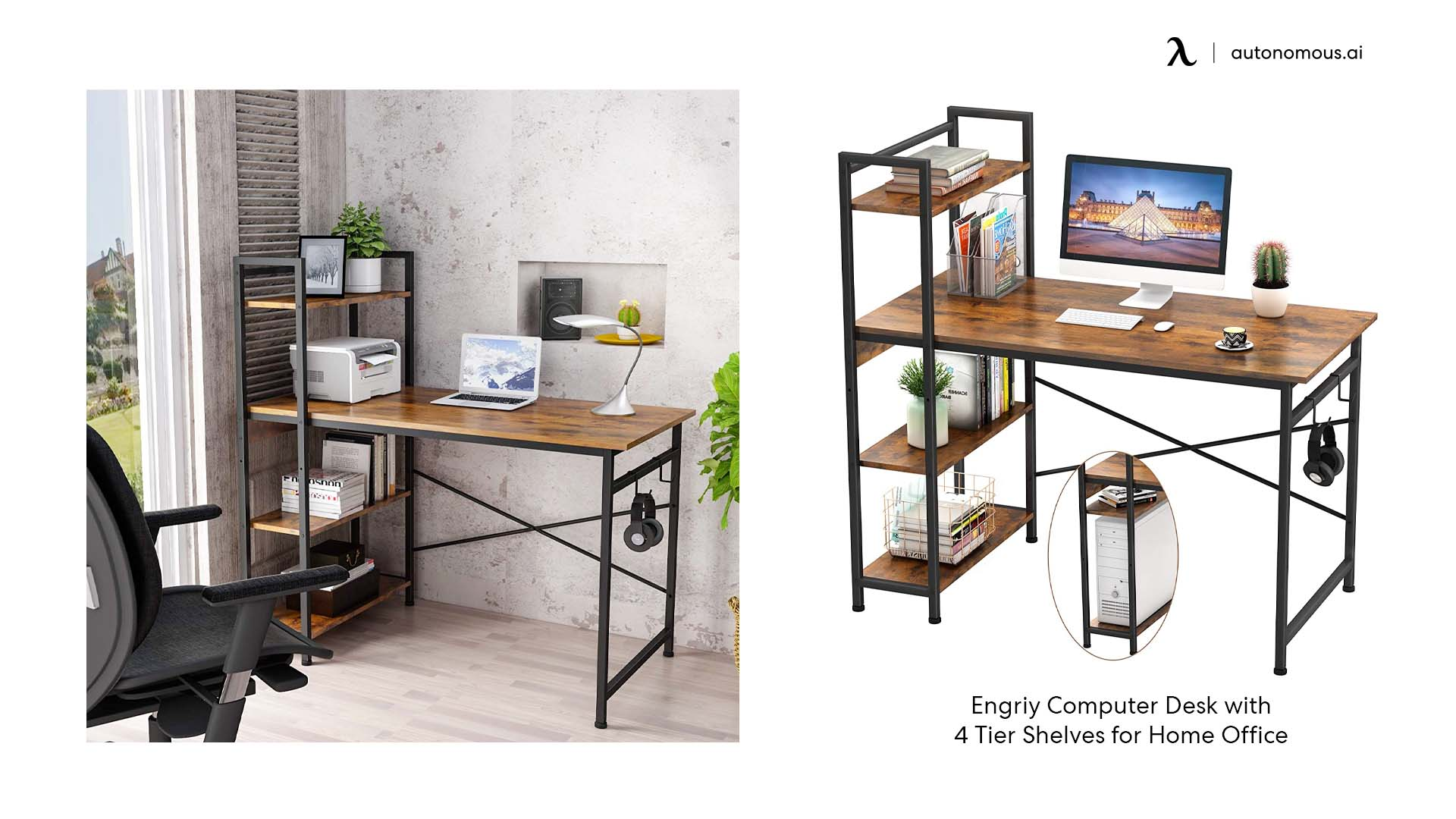 Computer Desk with Four Tier Shelves