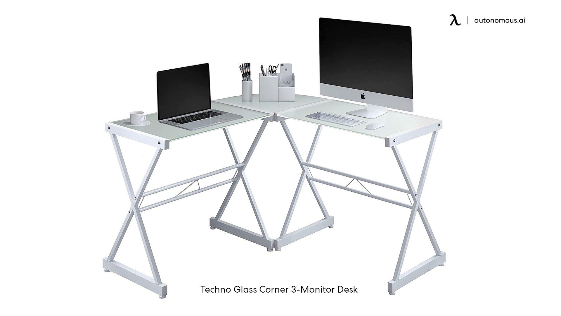 Techno Glass Corner 3-Monitor Desk