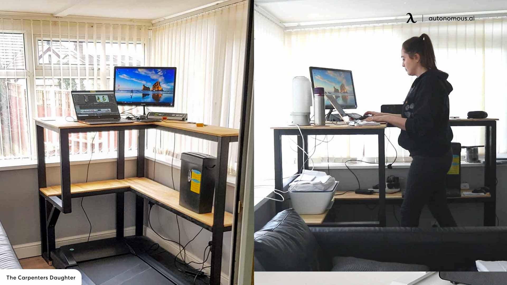 Treadmill's DIY L-shaped Desk