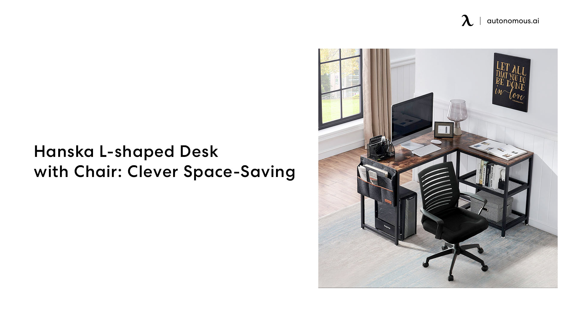 Hanska L-shaped Desk with Chair: Clever Space-Saving