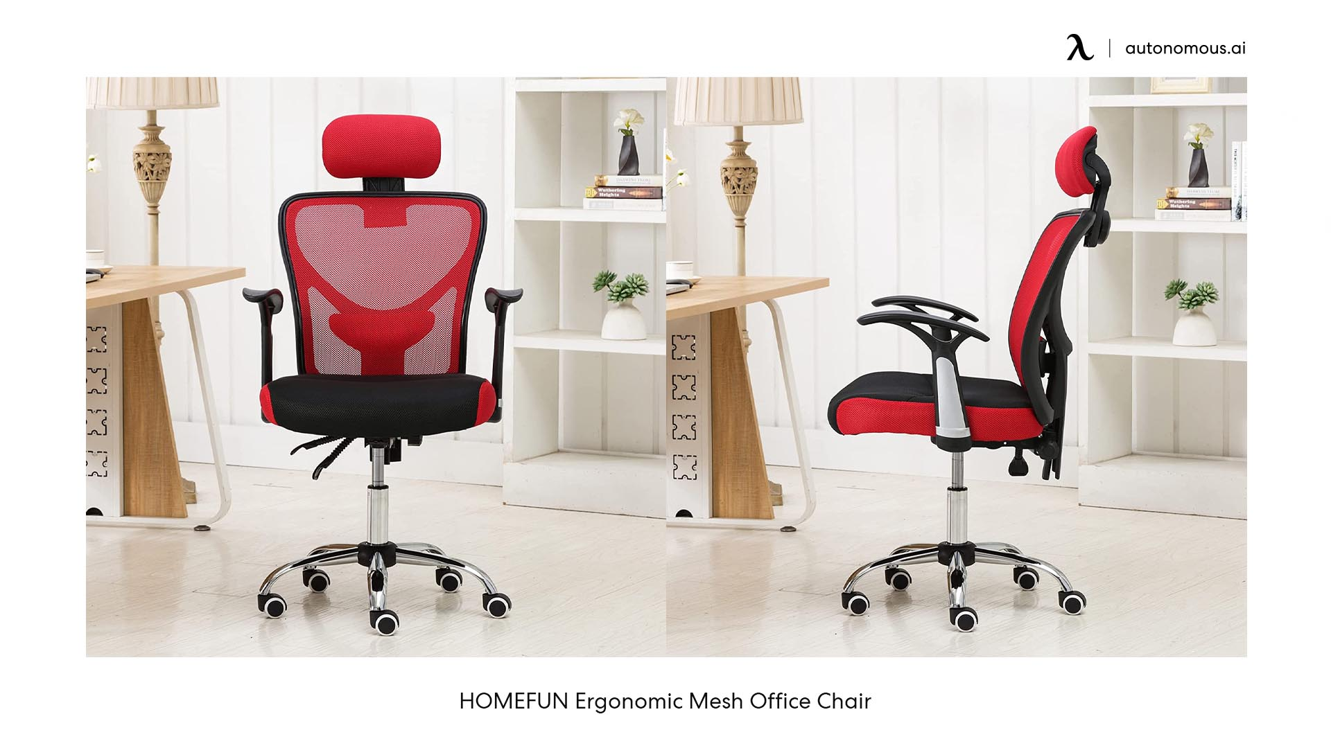HOMEFUN red office chair with arms