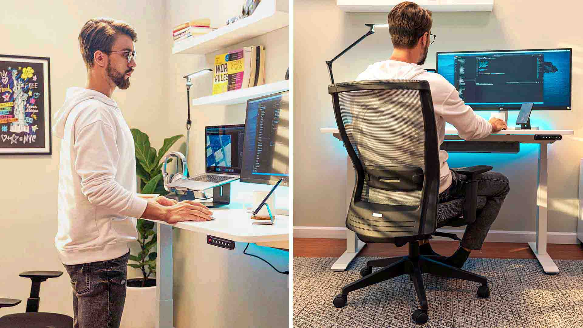 sit/stand desk with proper desk height