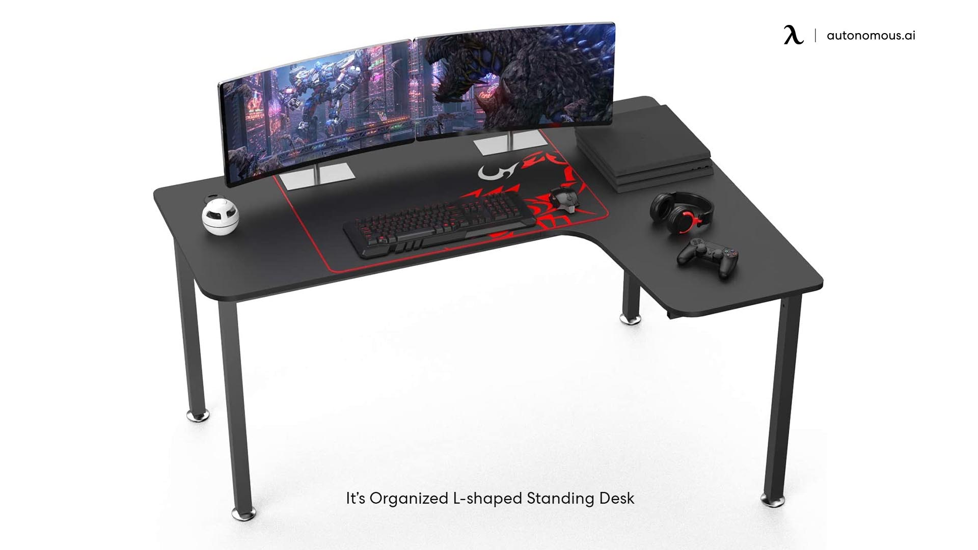 Organized L-shaped Standing Desk