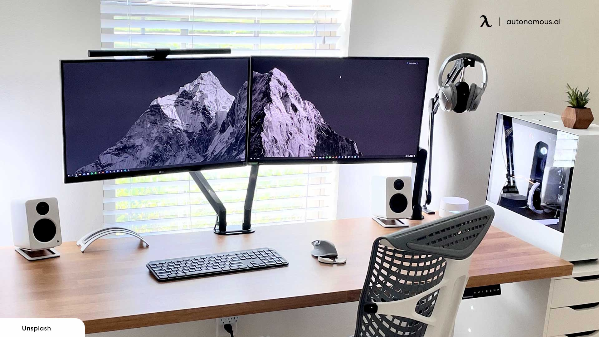 monitor arm in home office vibes