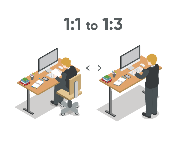the right ratio to switch between sitting and standing